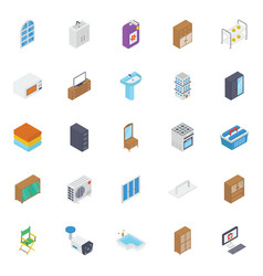 Building interior isometric icons pack vector