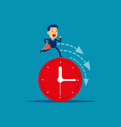 businessman running on clock representing vector image
