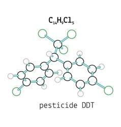 C14H9Cl5 pesticide DDT molecule vector image