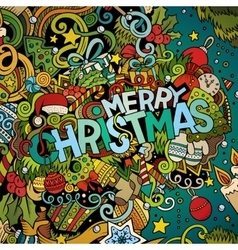 Cartoon cute doodles hand drawn Merry Christmas vector image