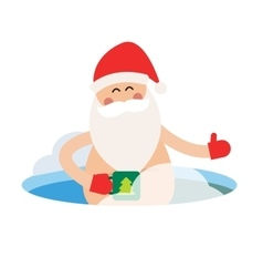 Cartoon extreme Santa ice-hole winter sport vector