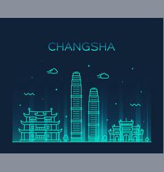changsha skyline hunan province china line vector image