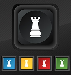 Chess Rook icon symbol Set of five colorful vector