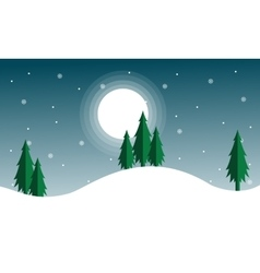 Christmas scenery with spruce and moon vector