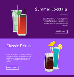 classic drinks summer cocktails colorful posters vector image