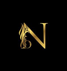 Classy elegant gold n letter floral logo vintage vector
