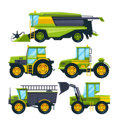 combine harvester and different others vector image