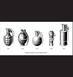 Common variable hand grenade hand draw vintage vector