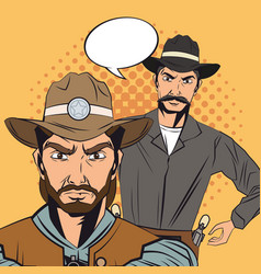 Cowboy man cartoon bubble design vector
