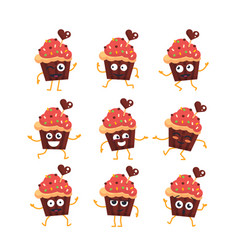 cupcake - set of mascot vector image