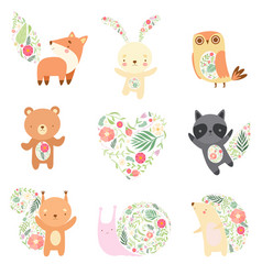 cute animals decorated with floral seamless vector image