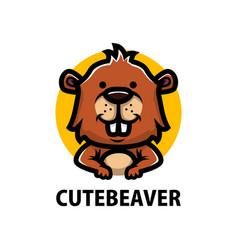 cute beaver cartoon logo icon vector image