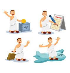 Cute flat hajj pilgrimage men character setting vector