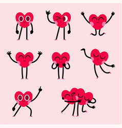 Cute heart character design collection vector