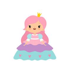 cute little fairytale princess girl with pink hair vector image