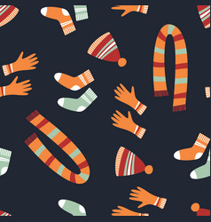 cute seamless warm clothes pattern vector image