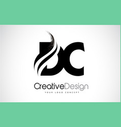 Dc d c creative brush black letters design with vector