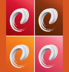 Different color milk splash creating tongue vector