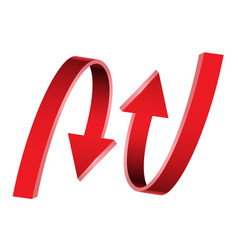 Double red arrow 3d curve direction on white vector