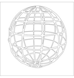Drawing a globe with black contour lines vector