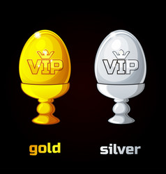 Easter golden and silver vip egg in a stand vector