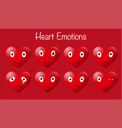 eight red heart emoticons vector image