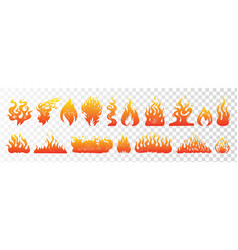 flame and fire set on transparent background hand vector image