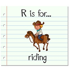 Flashcard letter R is for riding vector