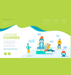 flat characters study foreign languages in courses vector image