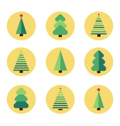 Flat design christmas tree set vector image vector image