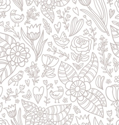 Flowers birds hearts seamless pattern vector image