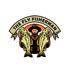 Fly fisherman holding largemouth bass woodcut vector