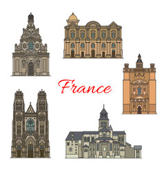 French travel landmark icon for religious tourism vector