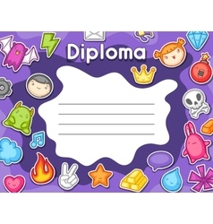 Game kawaii diploma cute gaming design elements vector