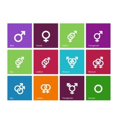 Gender identities icons on color background vector