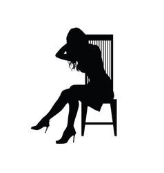 Girl silhouette on chair vector