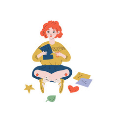 Girl sitting on floor and cutting color paper with vector