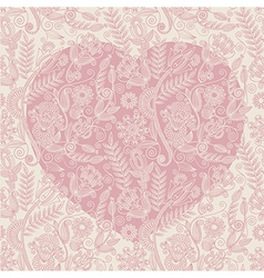 hand draw ornate heart shape background vector image