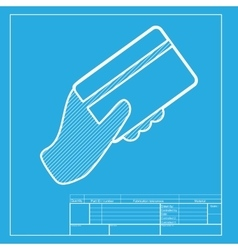 Hand holding a credit card White section of icon vector image