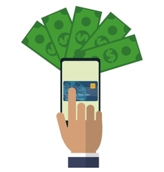 Hand touch cellphone payment application vector