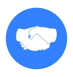 Handshake icon in black style isolated on white vector image