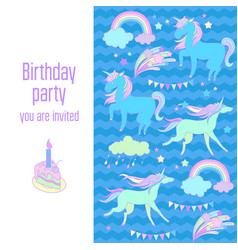 Happy birthday holiday card with unicorns flags vector