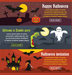 Happy halloween banner horizonatal set flat style vector