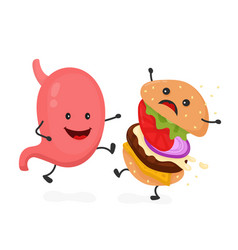 Happy smile strong stomach kick burger vector