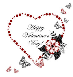 happy valentines day greeting card red heart made vector image