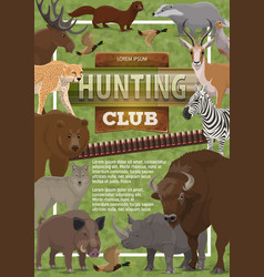 Hunting club poster of wild animals vector