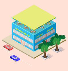 Isometric shopping center with supermarket foods vector
