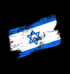 israel flag grunge brush background old brush vector image