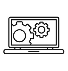 Laptop update icon outline style vector