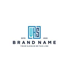 Letter vhs square logo design vector